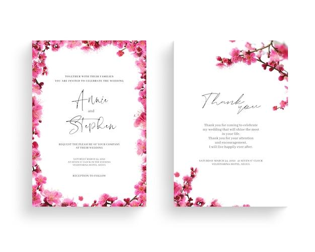 Schöner frühlingsblumenrahmen, einladung, hochzeitskarte, dankesgruß,