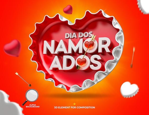 Schöner glücklicher valentinstag direkt im herzen kühlmittelkappenkampagne in brasilien