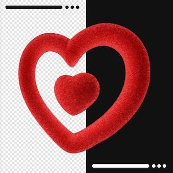Schöner glücklicher valentinstag in der 3d-darstellung isoliert