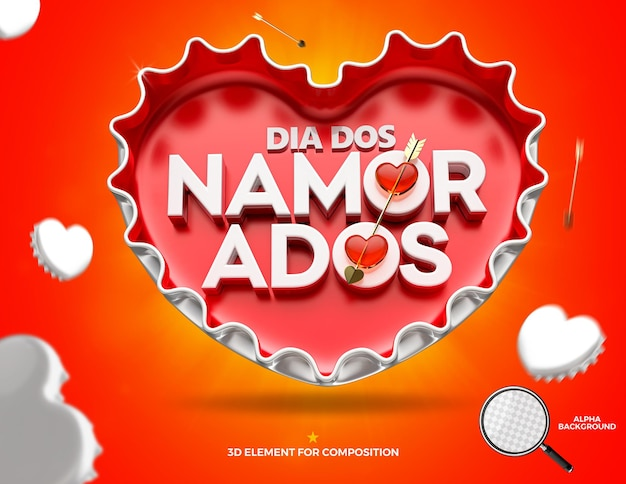 Schöner glücklicher valentinstag in herzkühlmittelkappenkampagne in brasilien