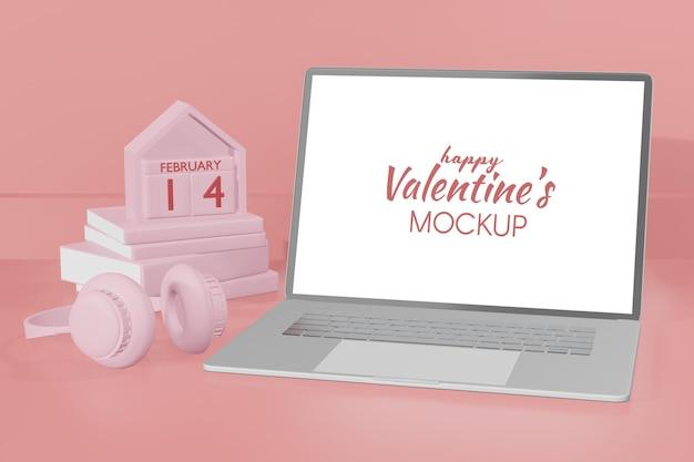 Schöner glücklicher valentinstag-laptop im 3d-rendering-modell