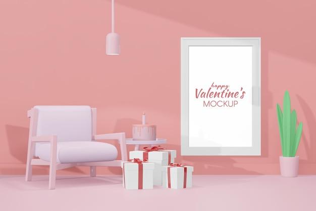 Schöner glücklicher valentinstagraum mit rahmenschablone im 3d-modell