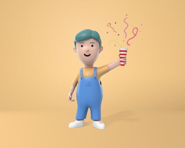 Schöner junge, der spaß beim schießen von konfetti-poppern hat. jubiläumsfeier oder geburtstagsfeier