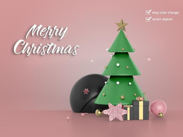 Schöner weihnachtsbaum mit geschenkbox Premium PSD