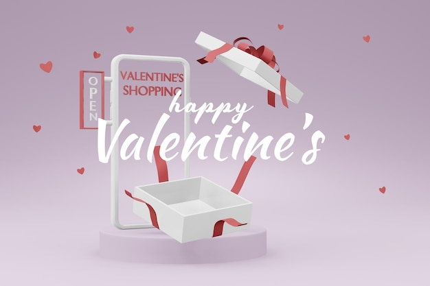 Schönes glückliches valentinstag-geschenkbox-konzept im 3d-modellmodell