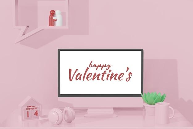 Schönes glückliches valentinstagzimmer mit computervorlage im 3d-modellmodell