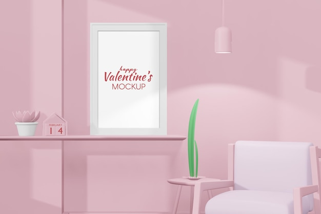 Schönes glückliches valentinstagzimmer mit rahmenmodell im 3d-rendering