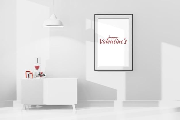 Schönes glückliches valentinstagzimmer mit rahmenmodell in der 3d-darstellung