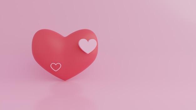 Schönes herz auf rosa in 3d rendering
