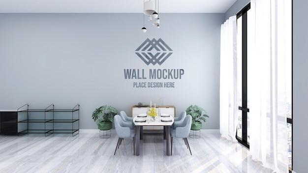 Schönes luxus-3d-text- oder logo-modell an der restaurantwand