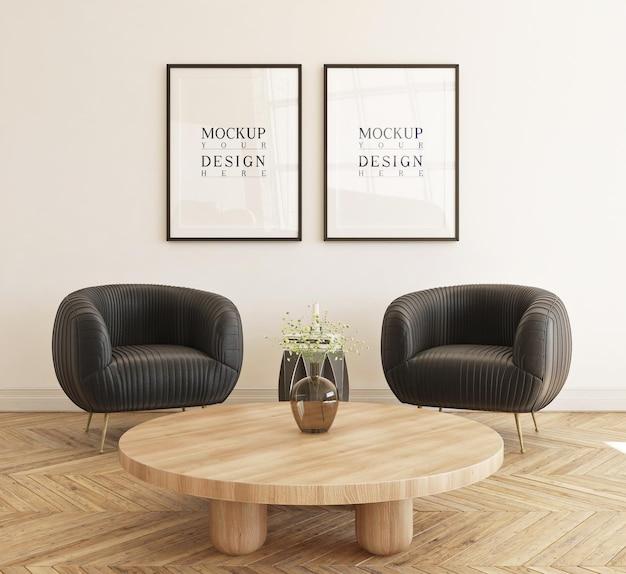 Schönes modellplakat gerahmt im modernen wohnzimmer mit sofa