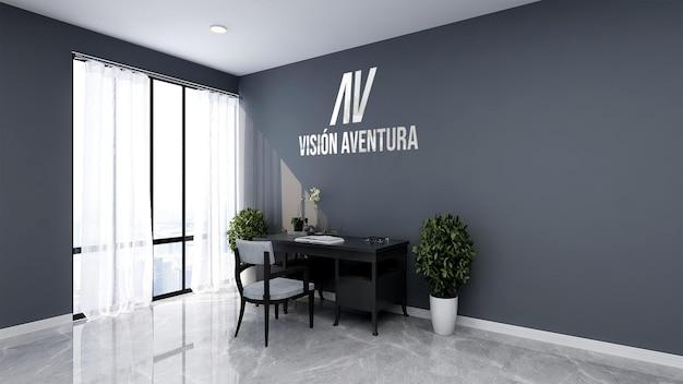 Schönes modernes büroarbeitsplatzwandmodell