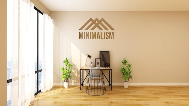 Schönes modernes ceo-büroarbeitsplatzwandmodell