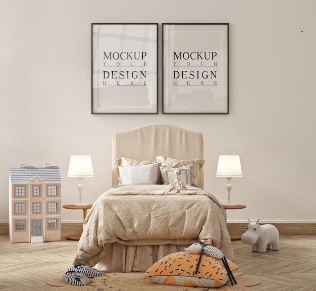 Schönes modernes kinderzimmer mit plakat gerahmtem modell