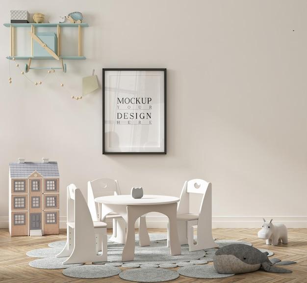 Schönes niedliches kindergartenklassenzimmer mit modellplakat gerahmt