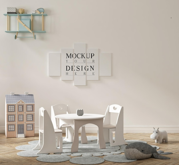 Schönes niedliches kindergartenklassenzimmer mit modellplakat