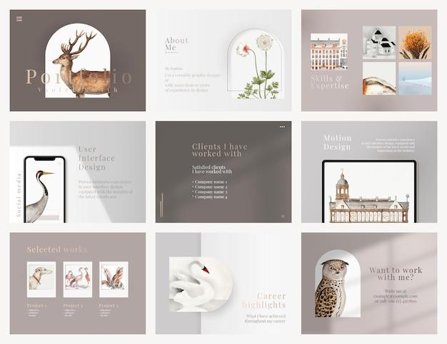 Schönes präsentationsfolien-vorlagen-psd-design in minimalem design