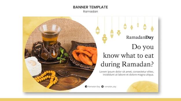 Schönes ramadan-banner mit foto