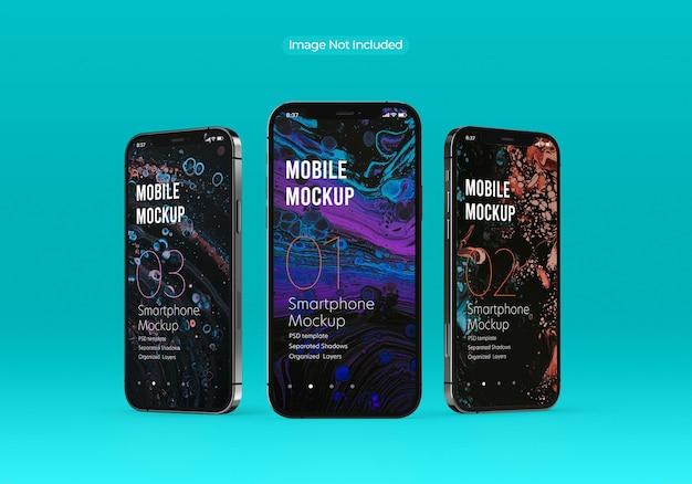 Schönes smartphone-modellbildschirm mit mehreren bildschirmen