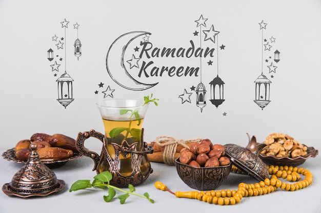 Schönes stillleben mit ramadán-elementen