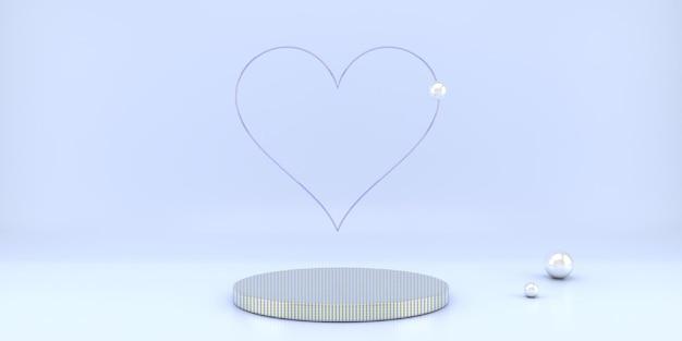 Schönes valentinstag-innensockel-design im 3d-rendering
