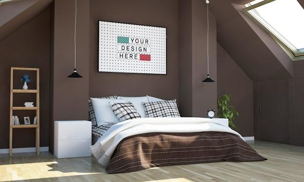 Schokoladenfarbenes schlafzimmer mit horizontalem plakatmodell