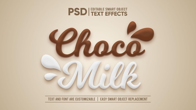 Schokoladenmilch 3d bearbeitbarer smart-objekt-texteffekt
