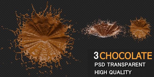 Schokoladenspritzer in verschiedenen stilen isoliert