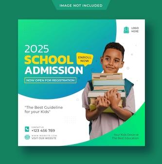 School admission instagram post oder social media post zurück zur schule vorlage premium psd