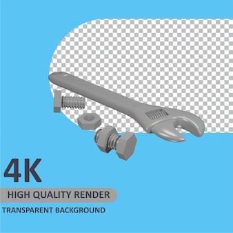 Schraubenschlüssel und schraube cartoon-rendering 3d-modellierung