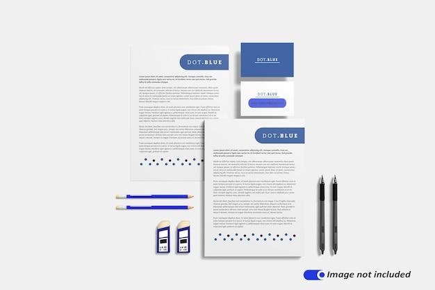 Schreibwaren branding identität modell szene schöpfer isoliert