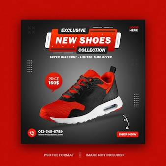 Schuhe social media instagram post banner quadrat flyer vorlagendesign