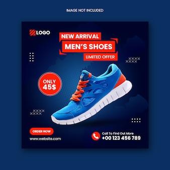 Schuhe social media instagram post und quadratische flyer vorlage