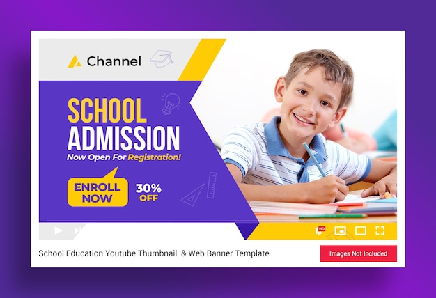 Schulbildung youtube-kanal miniaturansicht und web-banner-vorlage