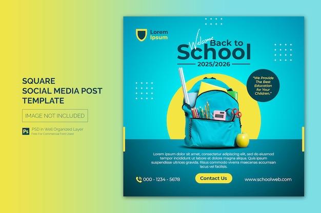 Schuleintritt bildung square social media post webbanner vorlage