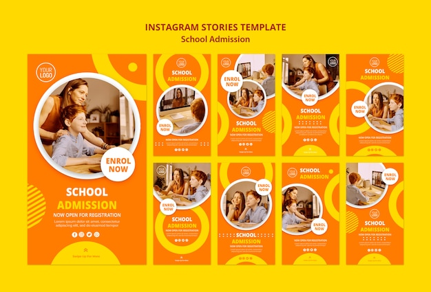 Schuleintrittskonzept instagram geschichten vorlage