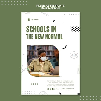 Schulen in neuer normaler flyervorlage