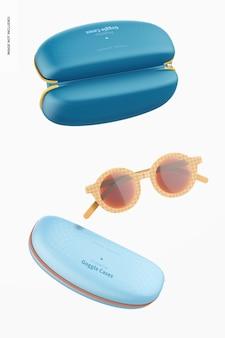 Schutzbrillenetuis und sonnenbrillen mockup