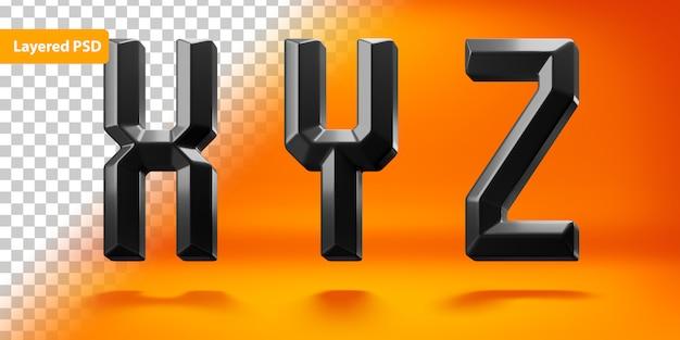 Schwarz glänzendes alphabet mit kantiger form
