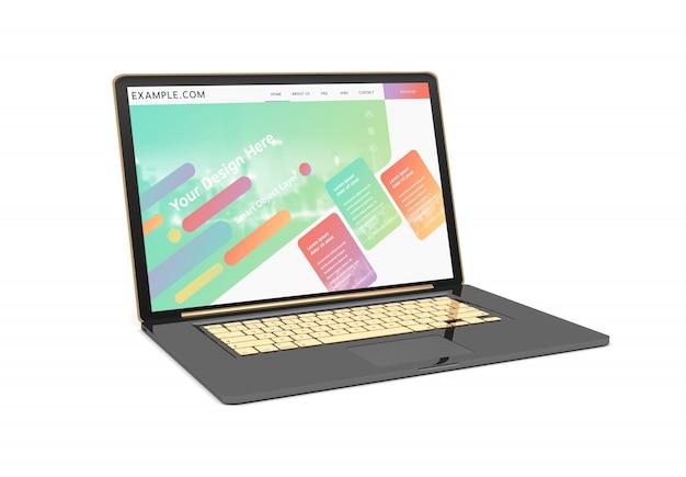 Schwarz und gold laptop mit schatten mockup
