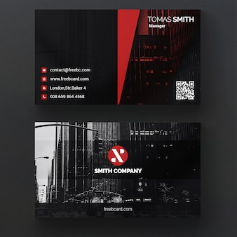 Schwarz-visitenkarte mit roten formen