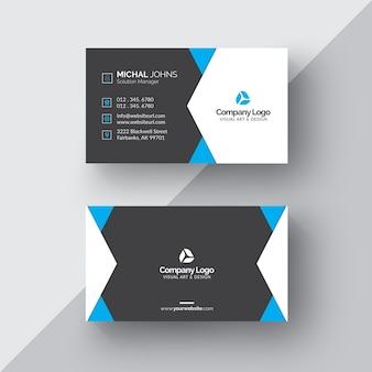 Schwarz-weiß-visitenkarte mit blauen details