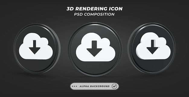 Schwarz-weiß-wolke download-symbol in 3d-rendering