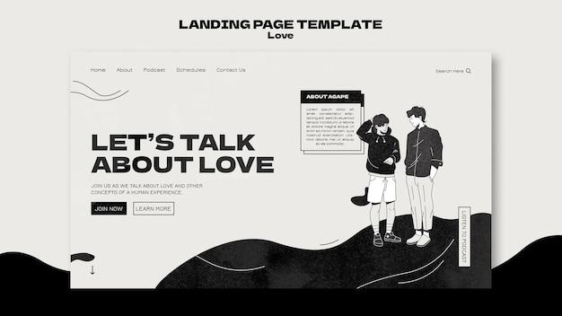 Schwarz-weiße liebes-landingpage-vorlage