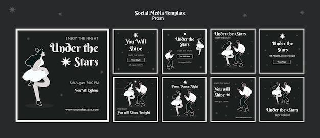 Schwarz-weiße social-media-beiträge für abschlussball