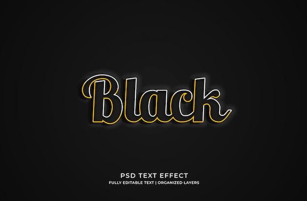 Schwarze bearbeitbare texteffektvorlage