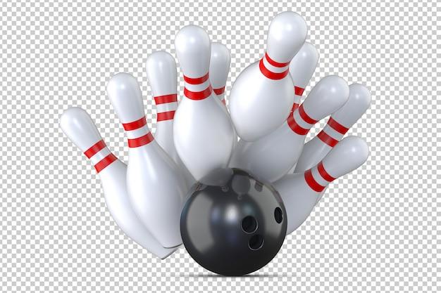 Schwarze bowlingkugel, die bowlingstifte schlägt