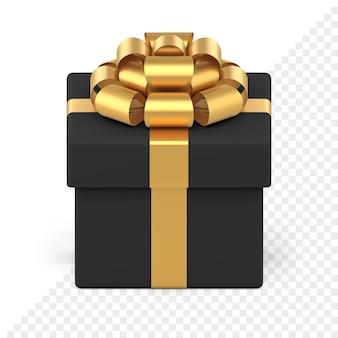 Schwarze festliche geschenkbox mit goldener schleife. kreatives paket mit goldband und luxuriösem knoten. geschenküberraschung für weihnachts- und neujahrsveranstaltungen. objekt für winterurlaub.