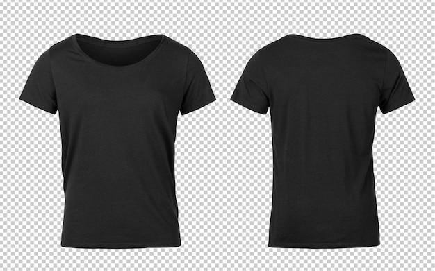 Schwarze frau t-shirts vorder- und rückseite modell