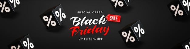 Schwarze freitag-verkaufsfahnenschablone mit schwarzen würfeln 3d mit prozenten